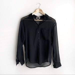 Garage Black Sheer Button Down Collared Long Sleeve Blouse, Size Small